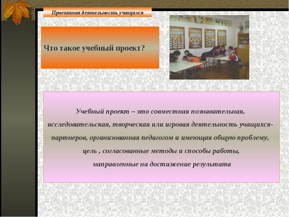 Что такое учебный проект? Учебный проект – это совместная познавательная, ис...