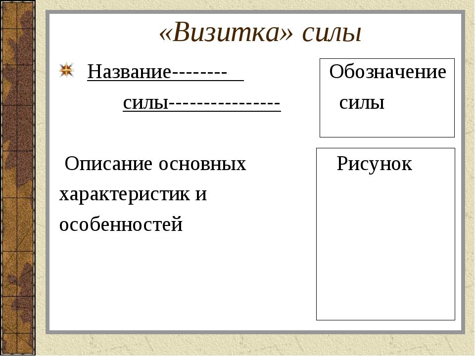 «Визитка» силы Название-------- Обозначение силы---------------- силы Описани...