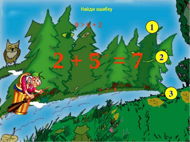 9 > 6 + 2 2 + 5 < 7 4 - 2 < 8 Найди ошибку 1 2 3 2 + 5 7 = - Возьмите числов...