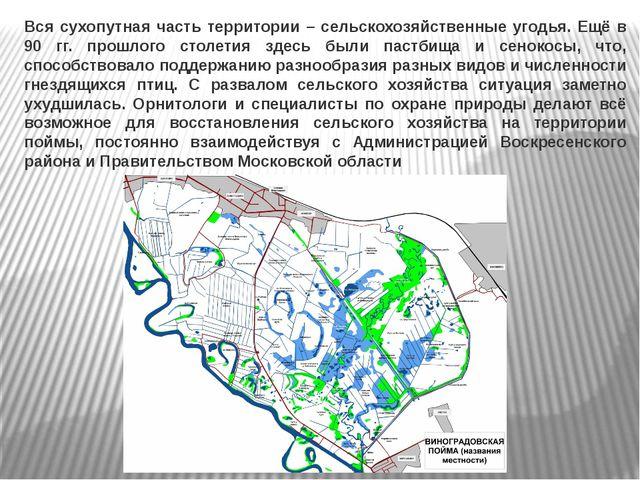 Вся сухопутная часть территории – сельскохозяйственные угодья. Ещё в 90 гг. п...