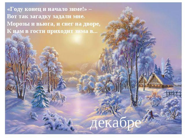 «Году конец и начало зиме!» – Вот так загадку задали мне. Морозы и вьюга, и с...