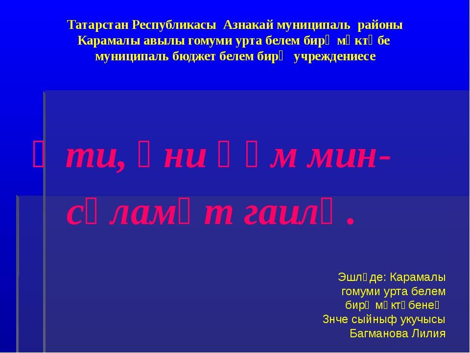 Татарстан Республикасы Азнакай муниципаль районы Карамалы авылы гомуми урта б...