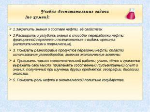 Учебно-воспитательные задачи (по химии): 1.Закрепить знания о составе нефти,