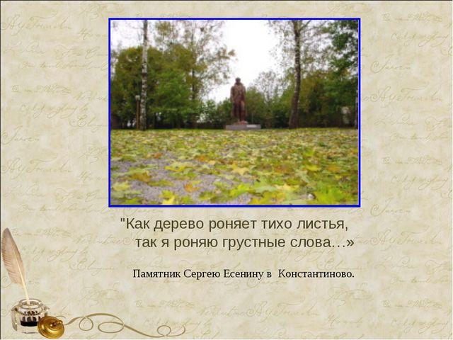 """""""Как дерево роняет тихо листья, так я роняю грустные слова…» Памятник Сергею..."""