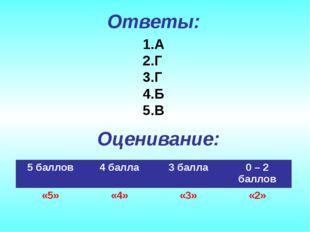 Ответы: А Г Г Б В Оценивание: 5 баллов4 балла3 балла0 – 2 баллов «5»«4»«