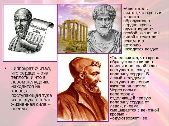 Гиппократ считал, что сердце – очаг теплоты и что в левом желудочке находится...