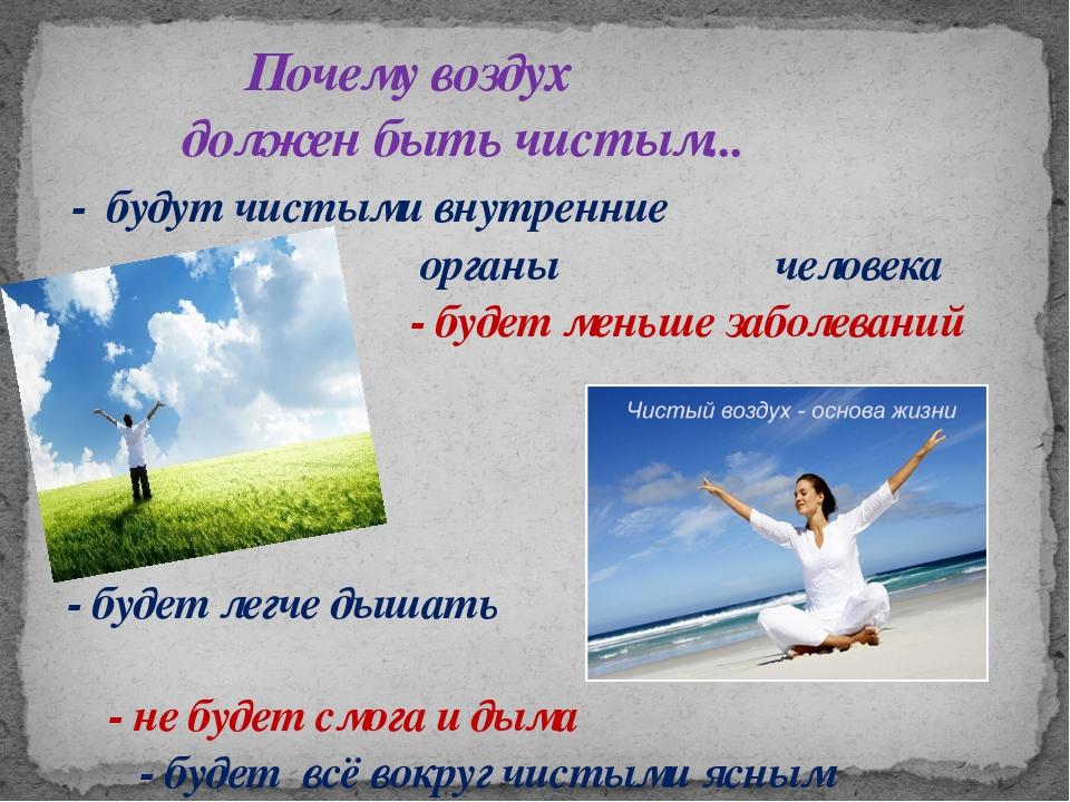 Почему воздух должен быть чистым... - будут чистыми внутренние органы челове...