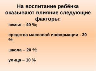 семья – 40 %; средства массовой информации - 30 %; школа – 20 %; улица – 10 %