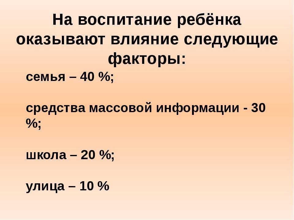 семья – 40 %; средства массовой информации - 30 %; школа – 20 %; улица – 10 %...