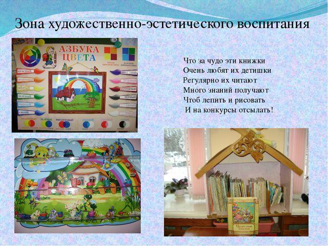 Зона художественно-эстетического воспитания Что за чудо эти книжки Очень любя...