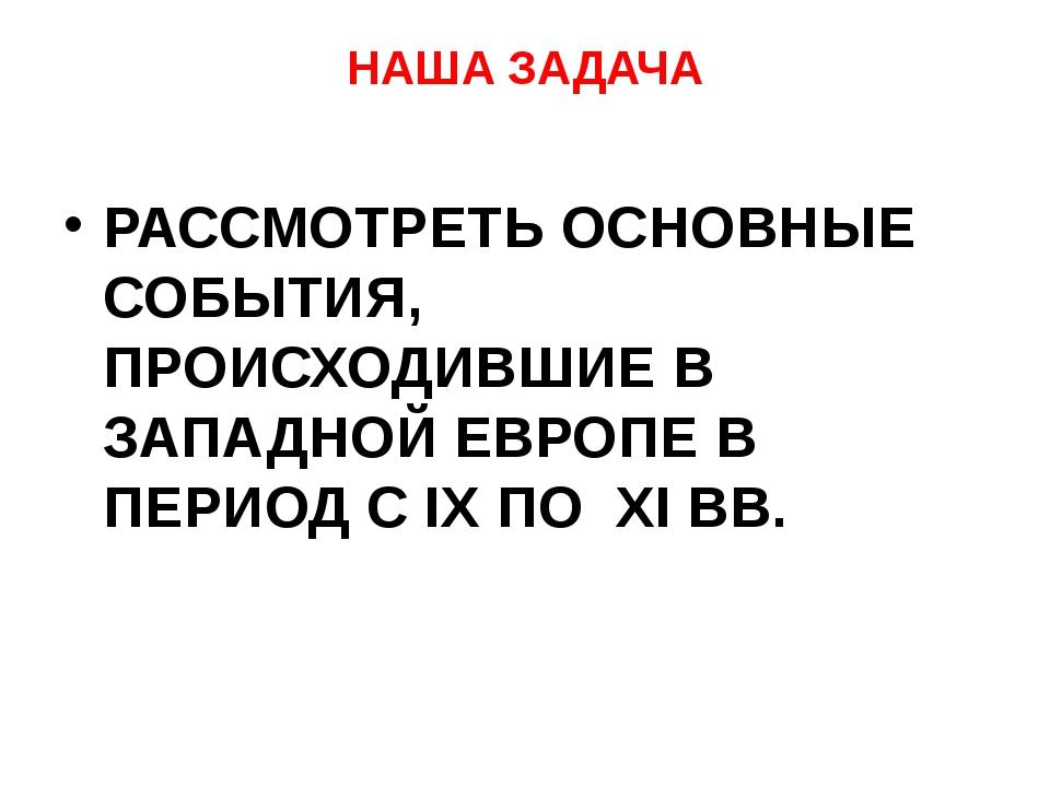 НАША ЗАДАЧА РАССМОТРЕТЬ ОСНОВНЫЕ СОБЫТИЯ, ПРОИСХОДИВШИЕ В ЗАПАДНОЙ ЕВРОПЕ В П...