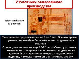 2.Участники ремесленного производства Мастерская часто была и торговой лавкой
