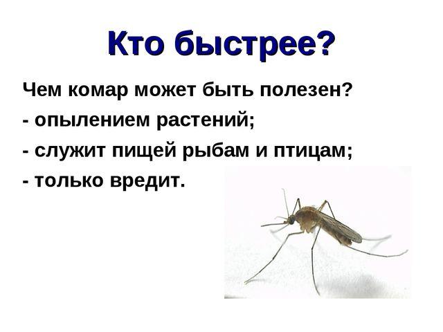 Кто быстрее? Чем комар может быть полезен? - опылением растений; - служит пищ...