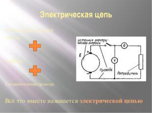 Электрическая цепь Источник электрической энергии Нагрузка Соединительные про