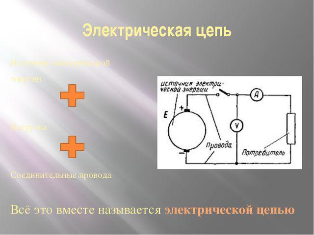 Электрическая цепь Источник электрической энергии Нагрузка Соединительные про...