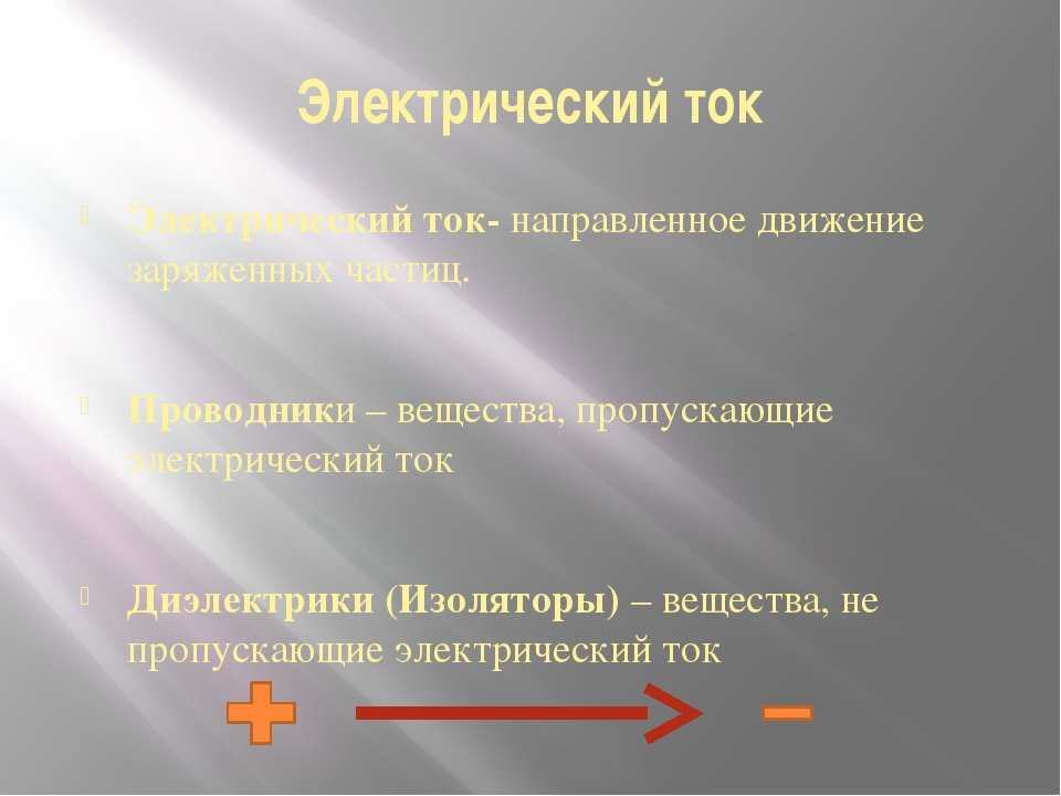 Электрический ток Электрический ток- направленное движение заряженных частиц....