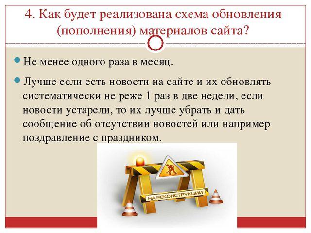 4. Как будет реализована схема обновления (пополнения) материалов сайта? Не м...