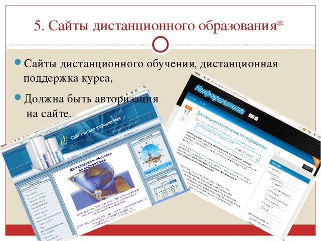 5. Сайты дистанционного образования* Сайты дистанционного обучения, дистанцио...