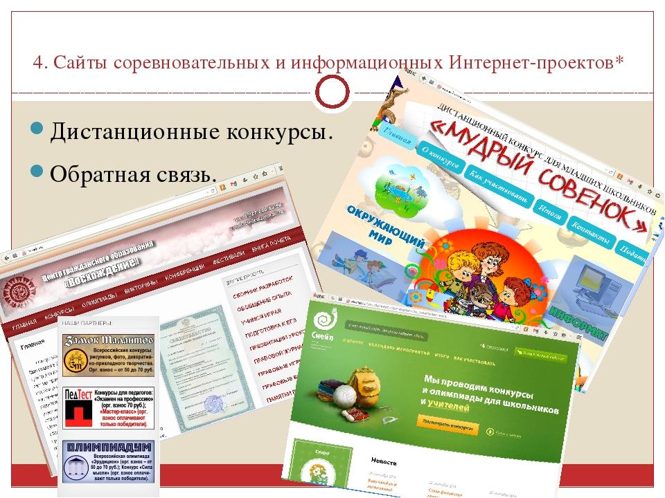 4. Сайты соревновательных и информационных Интернет-проектов* Дистанционные к...