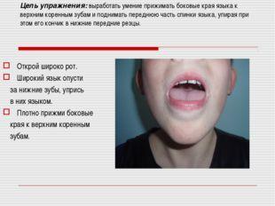 Цель упражнения: выработать умение прижимать боковые края языка к верхним ко