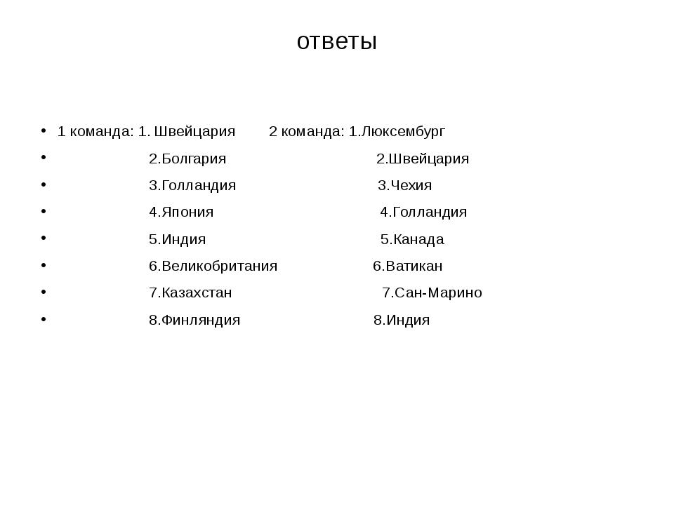 ответы 1 команда: 1. Швейцария 2 команда: 1.Люксембург 2.Болгария 2.Швейцария...