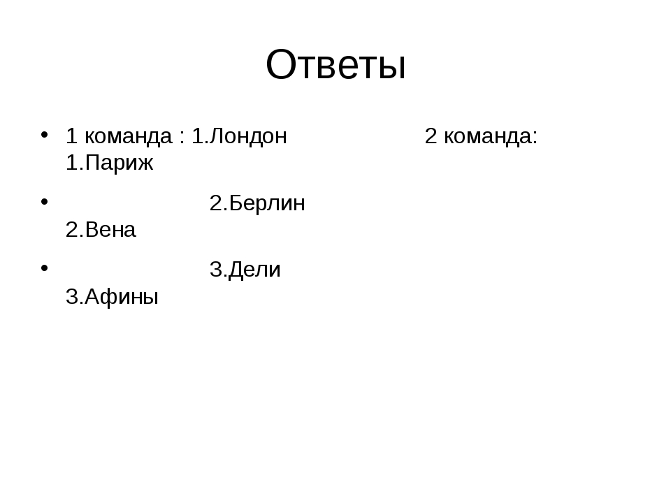 Ответы 1 команда : 1.Лондон 2 команда: 1.Париж 2.Берлин 2.Вена 3.Дели 3.Афины