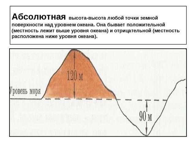 Абсолютная высота-высота любой точки земной поверхности над уровнем океана. О...
