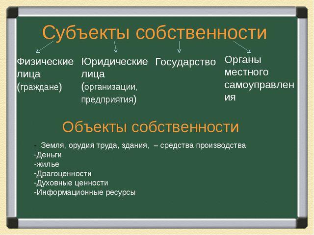 Субъекты собственности Объекты собственности - Земля, орудия труда, здания, –...
