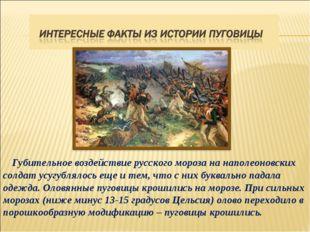 Губительное воздействие русского мороза на наполеоновских солдат усугублялос