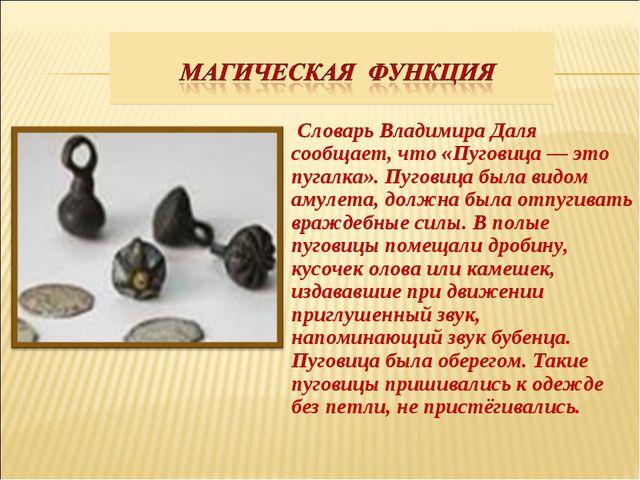 Словарь Владимира Даля сообщает, что «Пуговица — это пугалка». Пуговица была...