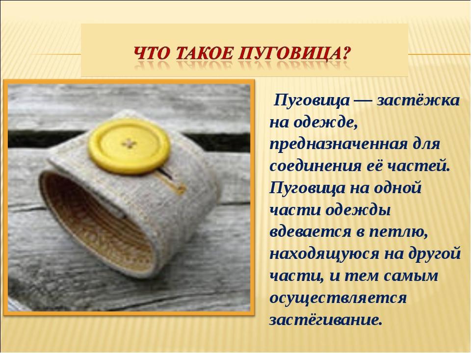 Пуговица — застёжка на одежде, предназначенная для соединения её частей. Пуг...