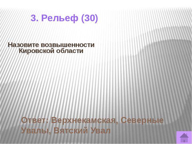 Самый крупный левый приток Вятки Ответ: Чепца 3. Внутренние воды (10)