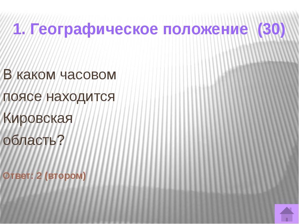 1. Географическое положение (50) Определите города Кировской области, которым...