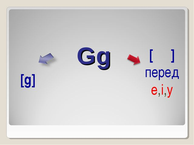Gg  [ʤ] перед e,i,y [g]