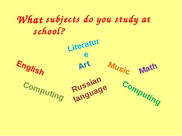What subjects do you study at school? Art Russian language Music English Lite...