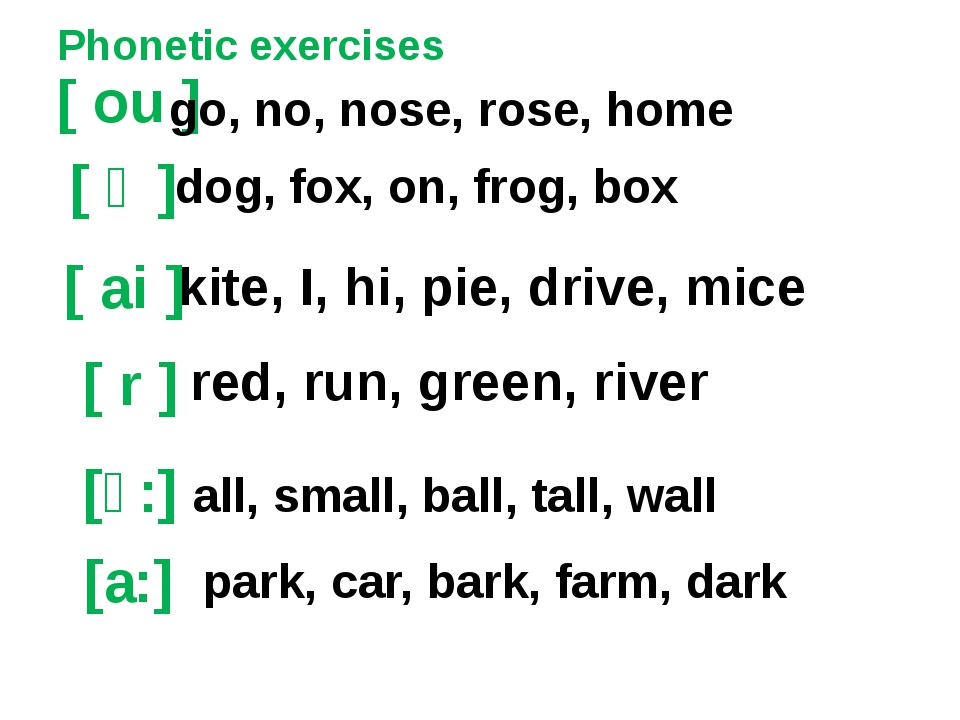 Phonetic exercises [ ou ] [ ai ] [ r ] kite, I, hi, pie, drive, mice go, no,...