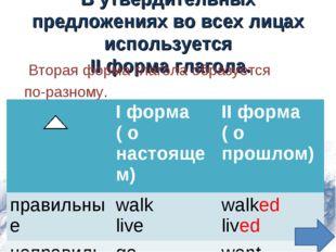 В утвердительных предложениях во всех лицах используется II форма глагола. Вт