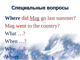 Специальные вопросы Where did Mag go last summer? Mag went to the country? Wh