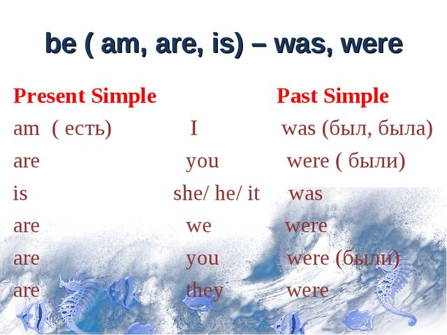 be ( am, are, is) – was, were Present Simple am ( есть) I was (был, была) are...