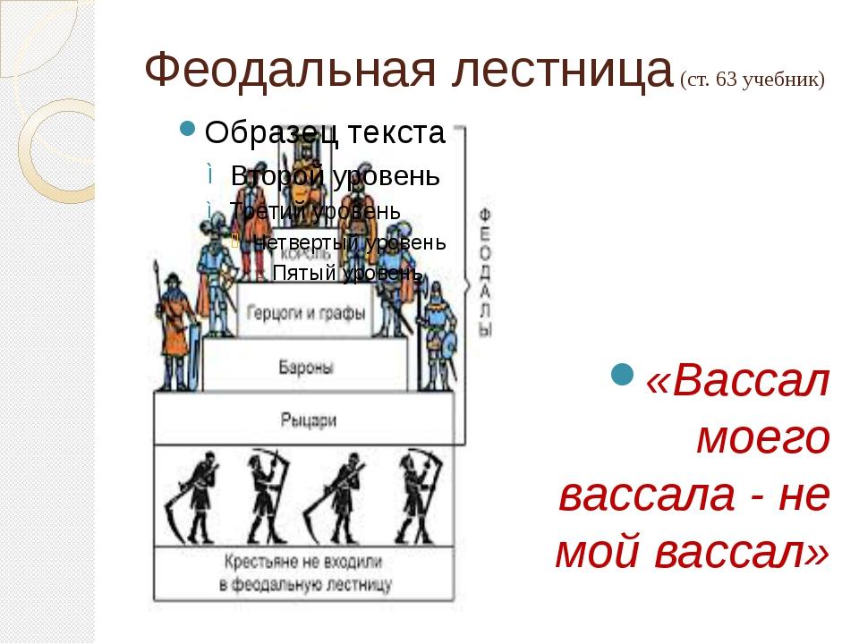 Феодальная лестница (ст. 63 учебник) «Вассал моего вассала - не мой вассал»