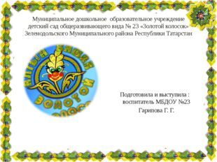 Муниципальное дошкольное образовательное учреждение детский сад общеразвивающ