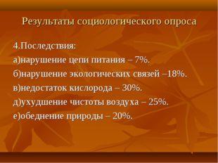 Результаты социологического опроса 4.Последствия: а)нарушение цепи питания –