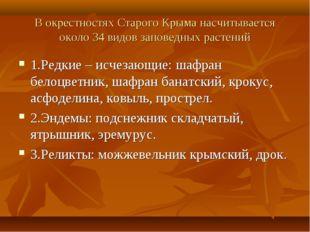 В окрестностях Старого Крыма насчитывается около 34 видов заповедных растений