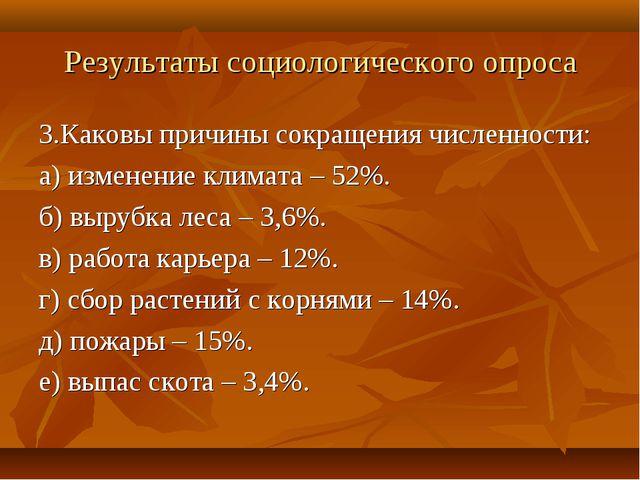 Результаты социологического опроса 3.Каковы причины сокращения численности: а...