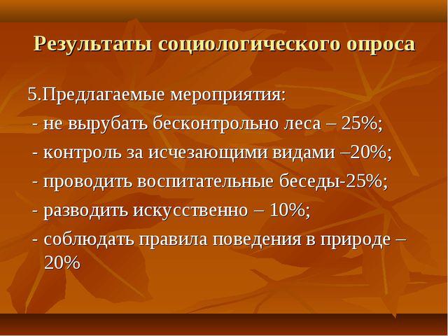 Результаты социологического опроса 5.Предлагаемые мероприятия: - не вырубать...