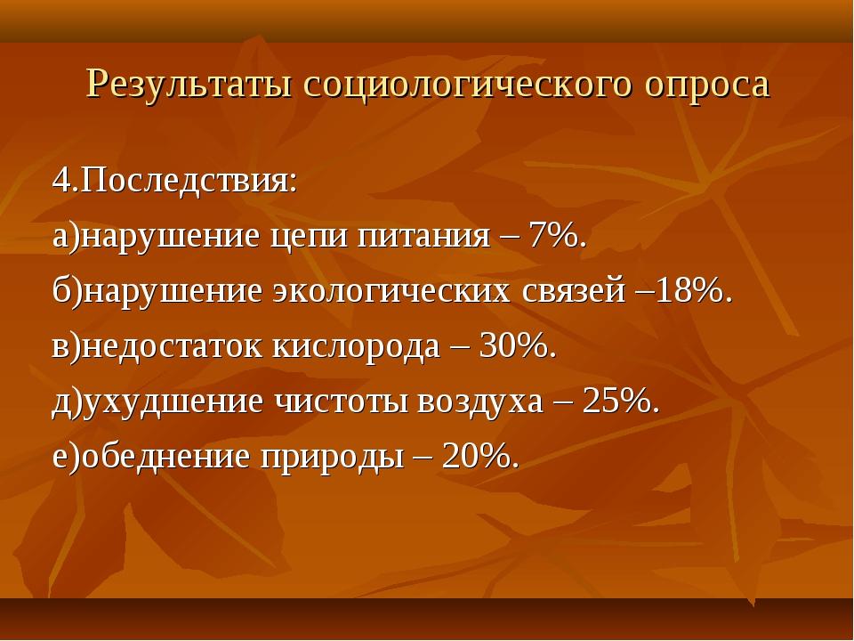 Результаты социологического опроса 4.Последствия: а)нарушение цепи питания –...