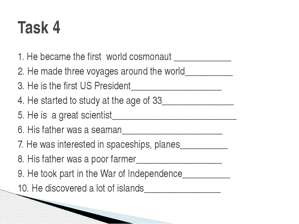 1. He became the first world cosmonaut ____________ 2. He made three voyages...