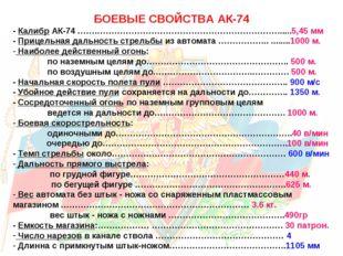 БОЕВЫЕ СВОЙСТВА АК-74 - Калибр АК-74 …….………………………………………………………......5,45 мм -