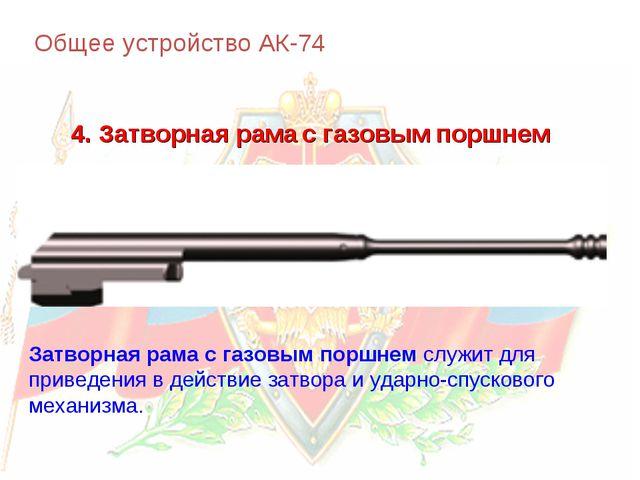 Общее устройство АК-74 4. Затворная рама с газовым поршнем Затворная рама с г...