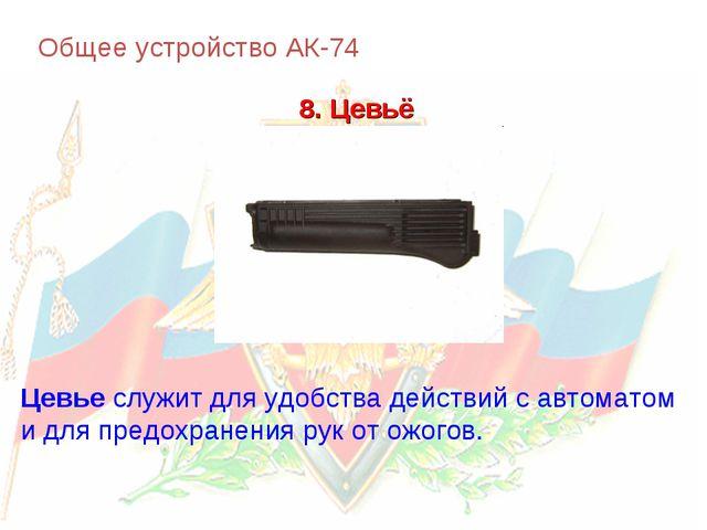 Общее устройство АК-74 8. Цевьё Цевье служит для удобства действий с автомато...